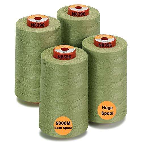 New brothread - 28 Opciones - 4 Bobinas Grandes de 5000M hilo de coser de poliéster todo propósito 40S/2 (Tex27) para coser, acolchar, patchwork, remalladora y overlock - Kiwi