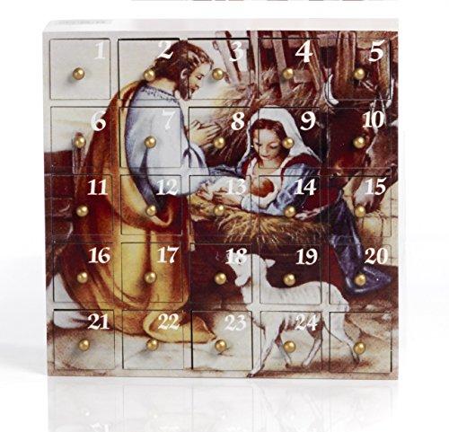 Calendario Avvento Natività, 23 cm in legno, by Paben