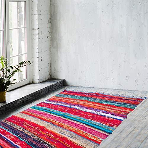 Naqsh - Alfombra de chindi Hecha a Mano de algodón Reciclado, Reversible, Tejido a Mano, Multicolor, Blue Chindi, 4'x6'