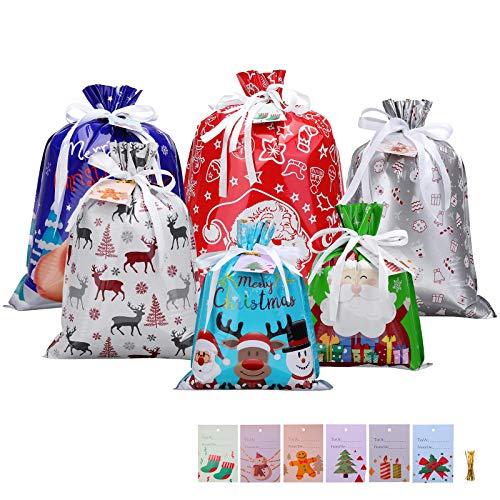 MOHOO Geschenktüten Neujahr Kinder Verbesserte Version mit Kordelzug, Geschenkband und Geschenkanhänger Geschenkverpackung Neujahr, Neujahrs-Bonbontasche für Geburtstag und Neujahr