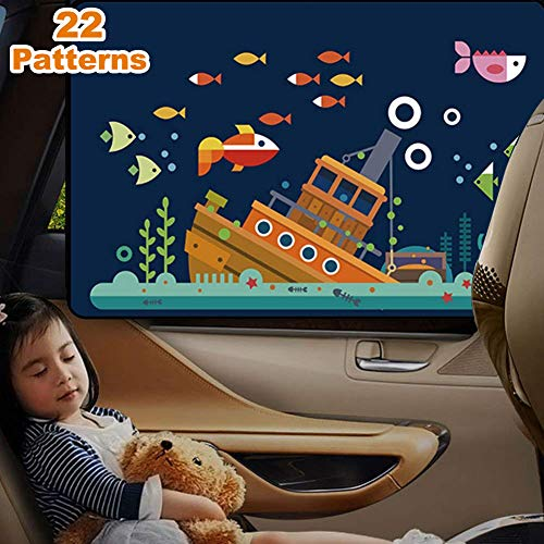 Sun UV Rays Universal Reversible Magnetic Curtain for Baby and Kids with Sun Protection Block Damage from Direct Bright Sunlight Yoobure Car Side Window Sun Shade and Light