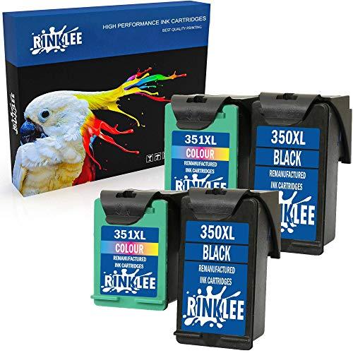 RINKLEE Remanufacturado para HP 350XL 351XL Cartucho de Tinta Compatible con HP Photosmart C4280 C4340 C4380 C4480 C4580 C5280 D5360 Deskjet D4260 D4360 Officejet J6424 J5780 J5785 | 2 Negro, 2 Color