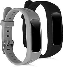 kwmobile 2X Pulsera Compatible con Huawei Honor Band 3e - Brazalete de Silicona Negro/Gris sin Fitness Tracker