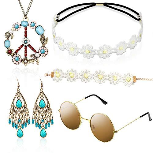 Hippie Kostüm Set mit Sonnenbril...