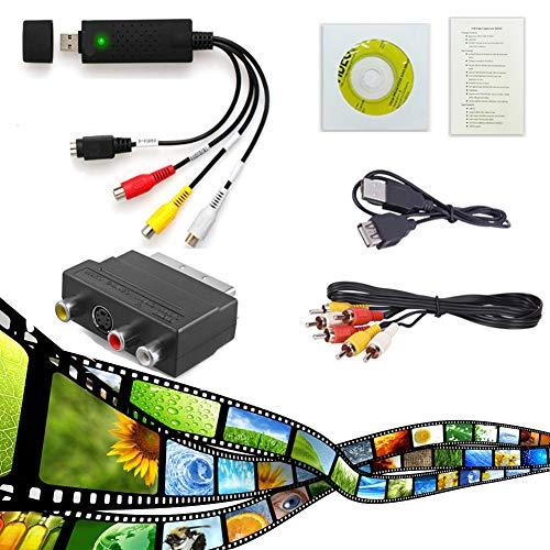 Video Grabber e VHS a PC Audio, adattatore VHS Video Digitizer DVD-TV Videoregistratore VHS VCR DVR a convertitore digitale per la registrazione del vostro vecchio VHS per Win 10