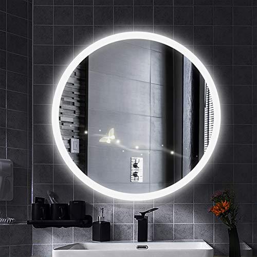 YIZHE Espejo Redondo de Baño,Espejo Pared Antinieble LED con Interruptor Táctil,Espejo LED Premium,Espejo de Pared,Espejo Baño,Espejo Colgante,Dimensiones del Espejo 80x80 cm