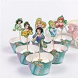 XiaoOu Decoraciones para Cupcakes 24pcs / Lot Baby Shower Party Girls Favors Cupcake Toppers Princesas Decoraciones temáticas Cake Bake Paper Wrappers Suministros de cumpleaños