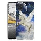 KX-Mobile Hülle für Samsung A51 Handyhülle Motiv 1581 Pferd Weiß mit Flügeln Pegasus Premium Silikonhülle SchutzHülle Softcase HandyCover Handyhülle für Samsung Galaxy A51 Hülle
