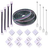 FSJEE 12MM 5PIN RGBW LEDストリップコネクタキット(16.4FT延長ケーブル付)、4PCSギャップコネクタ、5ピンオスコネクタワイヤケーブル、L字型コネクタ、5050 RGBW LEDストリップライト用ストリップトゥストリップジャンパ