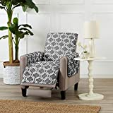 Great Bay Home Reversible Recliner Cover for Living Room. Oversized Furniture Protector with Secure Straps. Recliner Cover for Dogs, Protect from Kids and Pets. Wyatt Collection (Recliner, Charcoal)