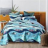 3 piezas de manta acolchada 100% algodón azul ondas colcha suave edredón ligero sofá cama y 2 fundas de almohada para niños