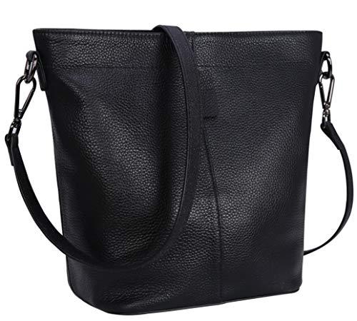 Iswee Women Leather Handbags Tote Bag Crossbody Shoulder Bag Bucket Bag (Black-Leather)