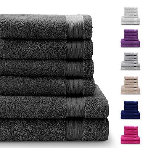 Set di 6 Pezzi Asciugamani in 100% Cotone, Senza Prodotti Chimici - 4 Asciugamani e 2 Telo da Doccia - Oeko Tex - Super Assorbenti - Ideali per la Casa, Il Bagno, Lo Sport, la Palestra, la Piscina