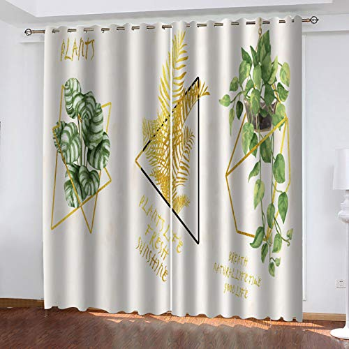 European Style Fresh And Simple Pattern Curtains Perforated Installation Method Curtain Suitable For Bedroom, Living Room, Balcony 1 Pair