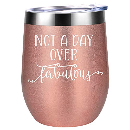 Not a Day Over Fabulous - Funny Birthday, Christmas Wine Gifts Ideas for Women, Wife, Mom, Daughter,...