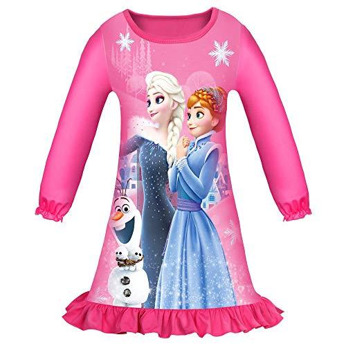 New front Camison de Princesa Frozen Elsa Anna Olaf Algodón Niña con Manga Larga Ropa de Dormir para Niñas Vestido de Princesa con Volantes Disfraz Princesa Regalo de Fiesta