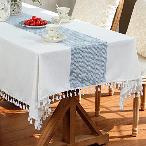 コットンリネンタッセル長方形長方形テーブルクロスキッチンダイニングリビングルーム屋外パーティー装飾テーブルカバー 140x180cm
