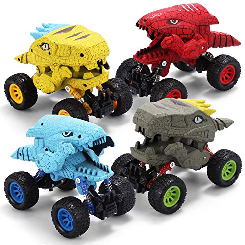JOYIN Dinosaurs Car Vehicle Truck Toy Dino Monster Pull Back Car Truck Toy Big Wheel Friction-Powered Playset for Kids and Toddlers