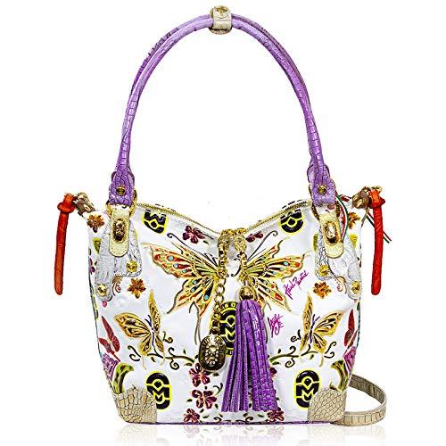 Marino Orlandi Women's Medium Handbag Italian Designer Crossbody Bag Purse Handpainted Alebaster Genuine Leather Top Handle Hobo Satchel in Butterfly Design with Swarovski and Tassel