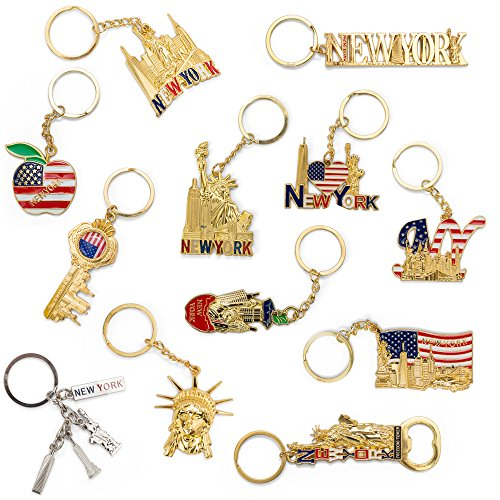 New York NYC Bundle Souvenir Metal Keychain 12 Pack~Statue Of Liberty,Usa Flag,World Trade Center,Empire State Building,Bottle Opener too & More-Bonus a Race Day Car (Gold)