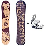 Bextreme Pack Tabla Snowboard Mujer/Chica/niño Spark 145cm con Fijaciones SP Private Medida 39-42 EU. Snow All Mountain polivalente para Freestyle y Freeride.