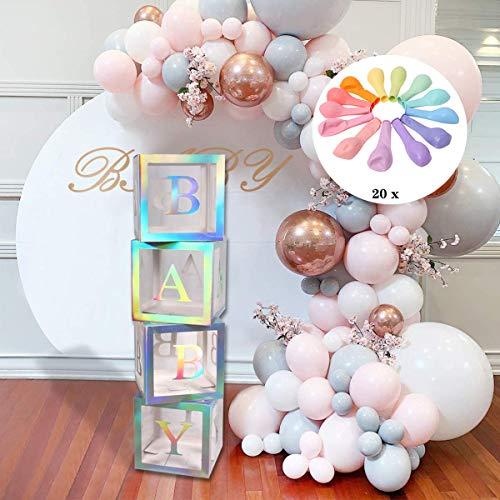 Baby Shower Decorations Box Blocks, 4Pcs Cajas de globos Transparentes Grandes con Bloques de Baby Shower Letter Para Artículos de Fiesta, Cumpleaños de bebé (20 Globos Incluidos)