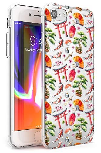Mixed Giapponese Watercolor Pattern - Piccolo Slim Cover per iPhone 7 Plus TPU Protettivo Phone Leggero con Trasparente Chiaro Giappone