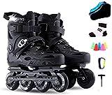 Patines en línea para adultos Patines para niños cómodos y transpirables Patines infantiles al aire libre Profesional Negro Mujeres Hombres Roller de una sola fila Skate, Tamaño: 41 EU / 8 US / 7 UK /