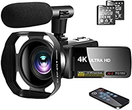 Video Camera 4K Camcorder with Microphone Vlogging Camera YouTube Camera Recorder Ultra HD 30MP 3.0