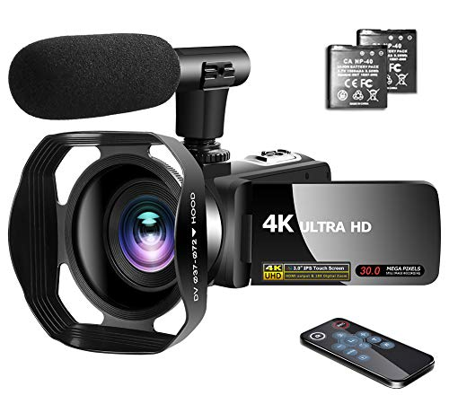 "Video Camera 4K Camcorder with Microphone Vlogging Camera YouTube Camera Recorder Ultra HD 30MP 3.0"" IPS Touch Screen with Lens Hood & 2 Batteries"