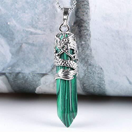 ERTERT 1 unids Mujer Hexagonal Natural de Cuarzo Cristal Chakra Punto Colgante Collar joyería (Metal Color : 5)