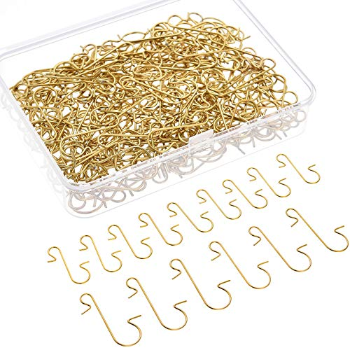 200 Pieces Christmas Ornament Hooks Metal Wire Hooks Metal S-Shaped Hook Hangers with Storage Box for Christmas Tree Decoration, 2 Sizes (Gold)