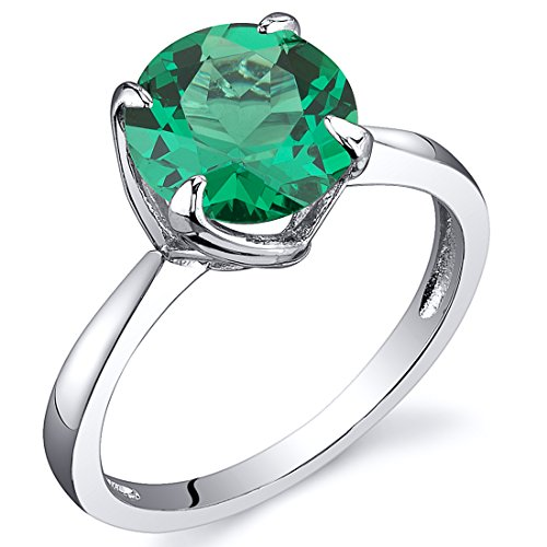 Peora Simulated Emerald Ring in Sterling Silver, Elegant Solitaire, Round Shape, 8mm, 1.75 Carats, Comfort Fit, Size 8 Comfort Fit Solitaire Setting