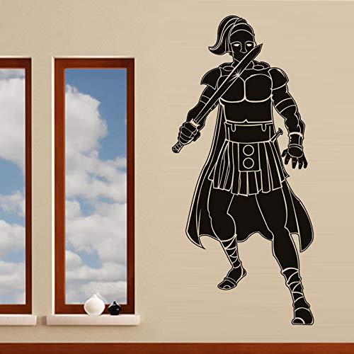 Geiqianjiumai Muursticker, Romeinse soldaat met zwaard vintage wandsticker, voor de woonkamer, zelfklevende bloemen