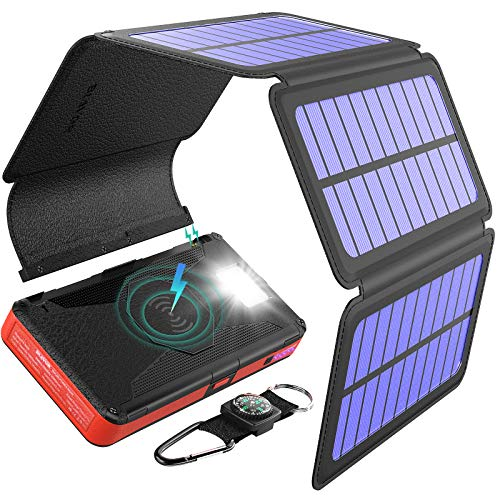 BLAVOR Cargador Solar Inalámbrico 20000mah, Batería Externa Banco de Energía Portátil 5 Paneles Solares Desmontable con Salida Doble Tipo C Entrada SOS Linterna para Android iPhone
