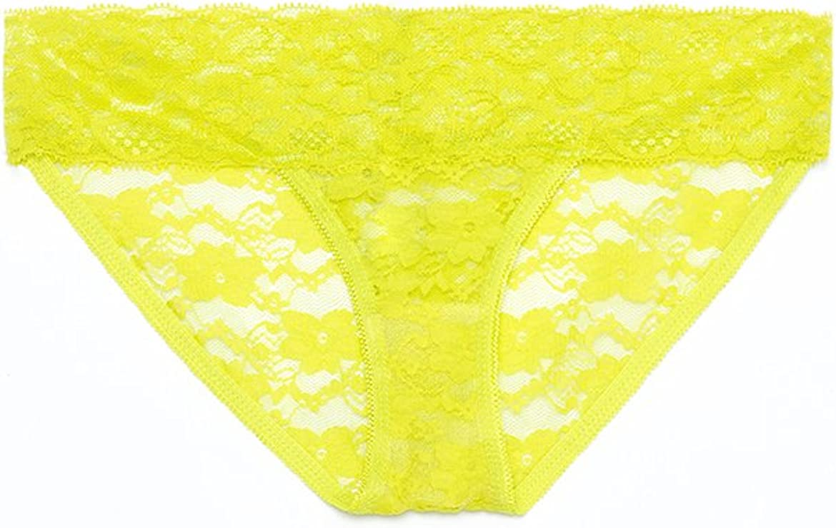 Yandy Womens Low Rise Full Back Bikini with All Over Floral Sheer Soft Lace Panty