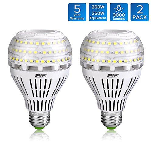 SANSI 22W (200-250 Watt Equivalent) A21 Ceramic LED Light Bulbs, ETL Listed, Daylight 5000K,...