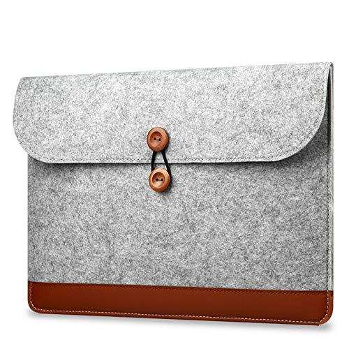 CoverKingz Laptoptasche für MacBook, MacBook Air, MacBook Pro, UltraBook Schutzhülle NoteFliptasche Filz, 13 Zoll, Hell Grau