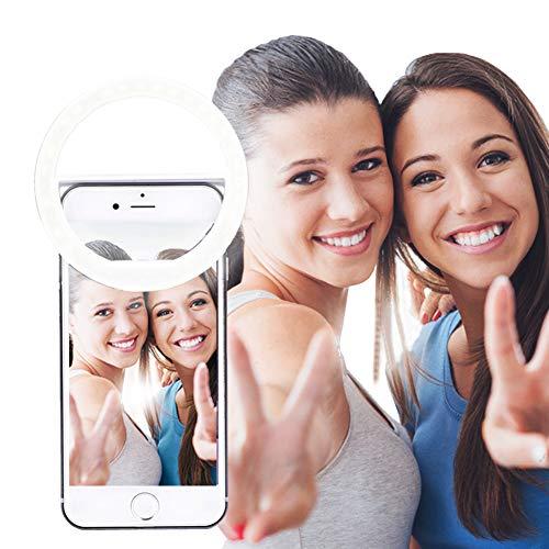 AUTOPkio Selfie la luz del Anillo, la iluminación Recargable Selfie suplementario Mejora Nocturna Oscuridad Selfie 36 del Anillo de luz LED USB para la fotografía teléfonos Inteligentes(de Carga US