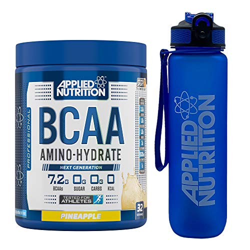 Applied Nutrition Bundle: BCAA Amino Hydrate Powder 450g + Lifestyle Water Bottle 1000ml | Branched Chain Amino Acids Supplement with Electrolytes, B Vits, Intra Workout & Recovery (Pineapple)