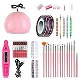 ZHUOTOP Set de uñas para Kit de manicura Lámpara LED UV con máquina de Taladro eléctrico Gel de uñas Barniz de uñas Pedicura Rosa roja