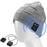 LNKK Bluetooth Beanie Hat, Superior Wireless Music Beanie Hat Washable Knit Cap with Headphone Headset Earphone Audio HandFree Calling for Running Exercise Gym Sports Fitness, Light Gray