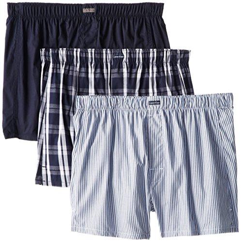 Calvin Klein Men's Cotton Classics Multipack Woven Boxers, Montague Stripe/Tide/Morgan Plaid, Medium