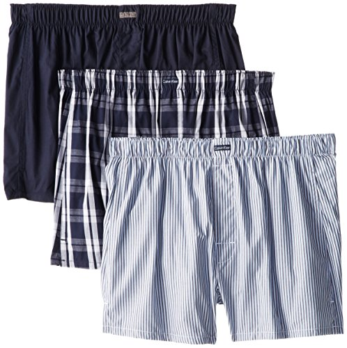 Calvin Klein Men's Cotton Classics Multipack Woven Boxers, Montague Stripe/Tide/Morgan Plaid, Medium