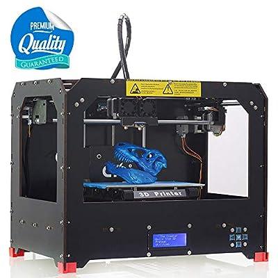 3D Printer, Dual Extruder Desktop 3D Printer CTC FDM 3D Printer Kit Reprap Prusa I3 LCD Screen PLA/ABS Coil 1.75MM DIY 3D Printer Kit 220x150x150mm