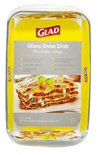 Glad Clear Glass Oblong Baking Dish | 3.1-Quart Nonstick Rectangular Bakeware Casserole Pan | Freezer-to-Oven and Dishwasher Safe, Large