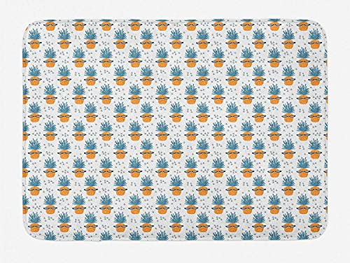 Hipster Door Mat, Funny Pineapples Wear Glasses Geek Tropical Joyful Modern Illustration, Decorative Bath Mat with Non Slip Backing, 40X60 Cm, Dark Orange Petrol Blue