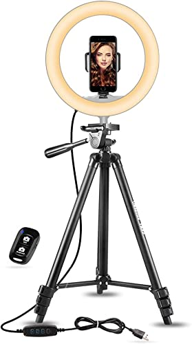 """UBeesize 10"""" Selfie Ring Light with 50"""" Extendable Tripod Stand & Phone Holder for Live Stream/Makeup, Mini Desktop L..."""