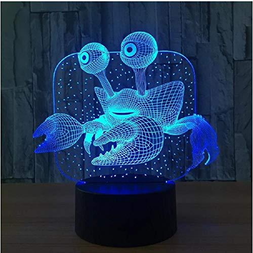 Cangrejo 3D Lámpara Usb Novedad Regalos 7 colores que cambian Luces de noche Led 3D Lámpara de mesa de escritorio Led como decoración del hogar Decoración de fiesta Regalo