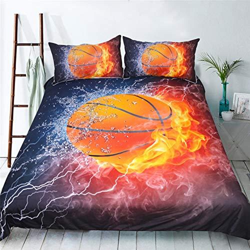 R.S. Basketball 3D Imprimé Sets De Housses De Couettes Douce Parure De Lit 2 Taies d'oreiller,Full203cmx228cm